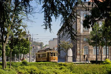 electrico: May 24, 2012: Traditional Tram Car in downtown Porto, Portugal