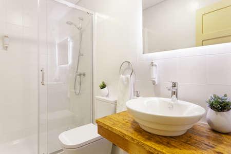 Modern Bathroom With White Tiles