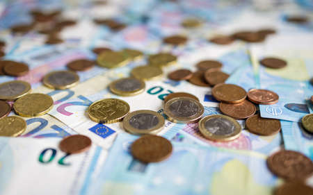 Euro money, banknotes and coins background, currency of European Union (EUR)