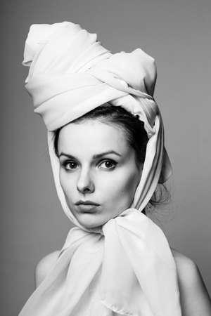 woman dressed in rococo style, closeup portrait, headdress