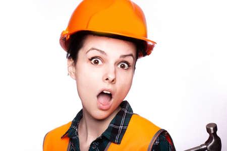 beautiful young woman builder