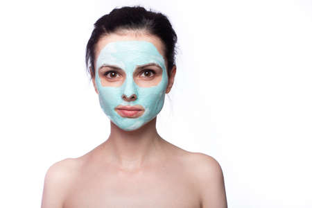 woman in cosmetic mask on her face