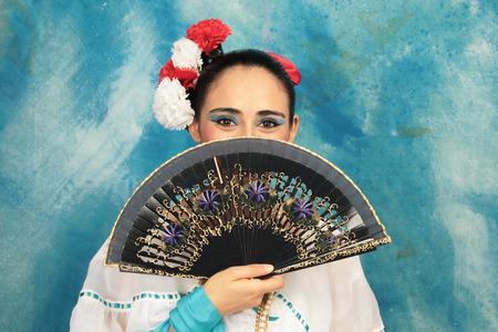 traje mexicano: Veracruz bailarina traje tradicional Foto de archivo