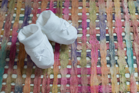 Baby shoes with nice  background Stock Photo