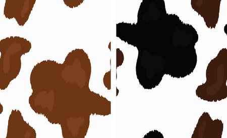 Vector Cow Skin Print. Light Brown Cow Skin Background. Black and Brown Cow Skin Pattern.