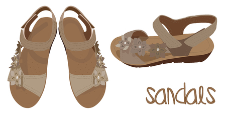 Light brown sandals vector, fashionable look. Illustration of Summer womans shoes in beige color. Vector drawing of fashionable look of womans sandals in beige color.