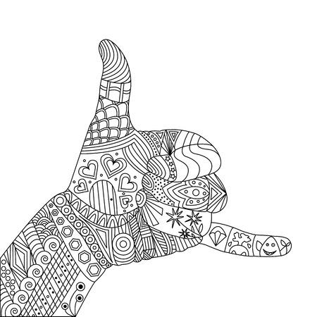 A Vector Zen Tangle Palm. A Gesture Shaka. Zen Tangle Hand Shaka Illustration