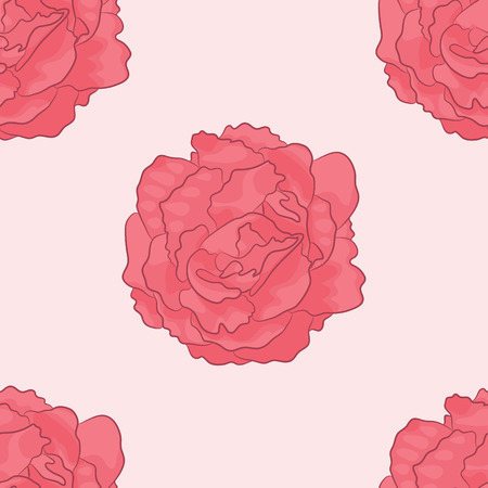 Vector Pattern of Pink Poses.  Print of Pink Flowers.  Seamless of Wildflowers