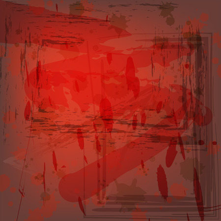 Vector Grunge Background. Abstract Drawing in Red and Brown Colors with Ink Splats. Wallpaper and Fond for Design