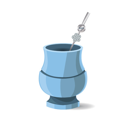Vector Illustration of Argentinian National Drink Mate. Hot Beverage. Drawing of Calabash with Bombilia in Blue and Grey Colors Illustration