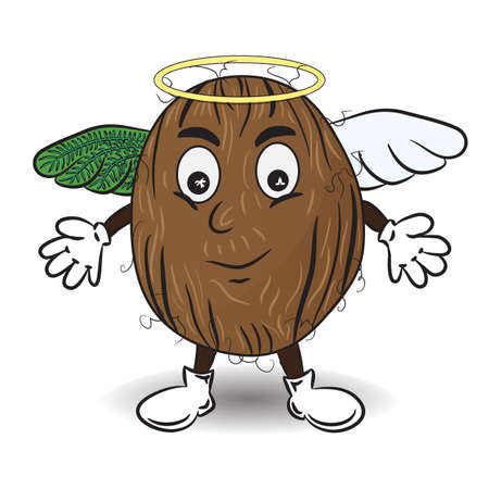 Vector Illustration of Coconut like an Angel. Cartoon Tropical Personage. Drawing for Stickers Pack, Emoji, Messengers, Chat and etc