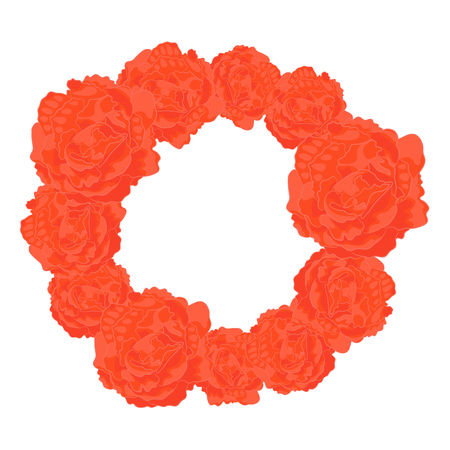 Vector Frame of Orange Roses. Round Floral Contour. Floral Decoration for Photo Editors, Wedding and etc