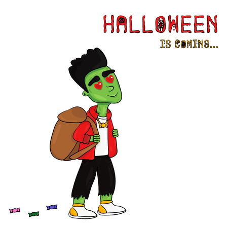 Vector Illustration of Halloween is coming with Frankenstein. A little boy looks like Frankenstein. Template for Postcards, Posters, Banners and etc