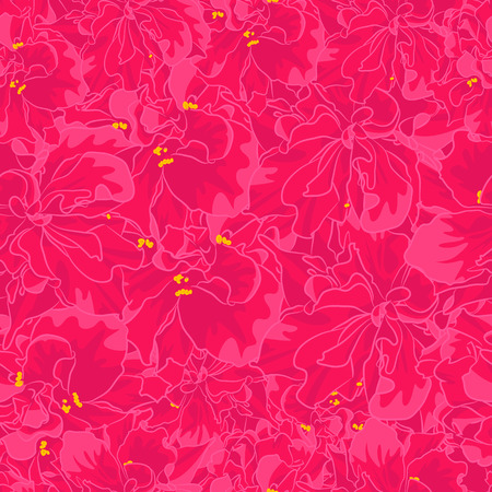 Vector Full Pattern of Pink Tropical Flower. Seamless of Exotic Plant in Fuchsia Colors. Floral Seamless Usable for Textile, Covering, Fabric, Packaging and etc Ilustrace