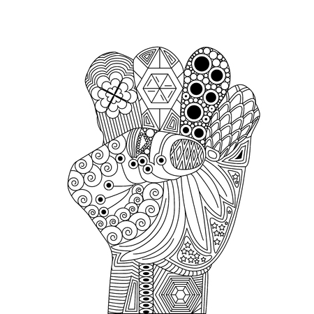 Vector Zen Tangle Palm like For Victory. A Gesture Luck. Zen Tangle Hand with Sign like Fingers Crossed. Lets Pray for Success for Somebody Stock Illustratie