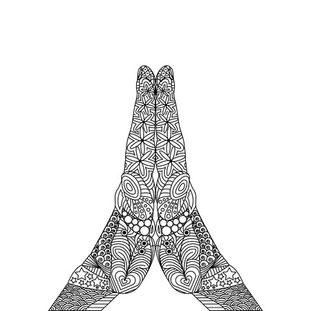 Vector Zen Tangle Palm like Ask God. A Gesture of Pray. Zen Tangle Hand with Religios Sign. Abstract Artistic Drawing with Doodle Elements  イラスト・ベクター素材
