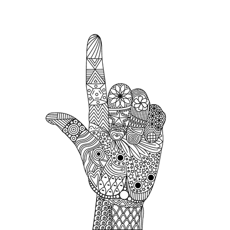Vector Zen Tangle Palm Pointing Up with Index Finger or Touching Screen. Loser Gesture and Lame. Vector Illustration of Zen Tangle Hand. Abstract Artistic Drawing with Doodle Elements Ilustração