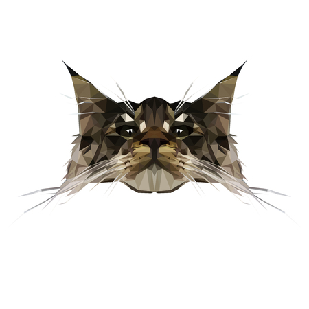 Vector Illustration of Cat Breed Maine Coon in Low Poly Style. Polygon Abstract Maine Coon in Brown and Green Colors. Geometric Polygonal Kitten Silhouette