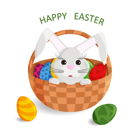 Vector Illustration of Cute Greeting Card of Happy Easter with Bunny Head outside. Drawing with Wicker Basket, Painted Eggs and Easter Bunny. Template for Postcard, Banner, Poster, Flyer and etc