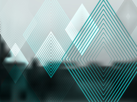 Vector Abstract Green Background with Rhombuses. Geometric Fond with Blur Effect. Illustration of Soft Colored Fond with Transparent Rhombuses. Tech Template. Tech backdrop. Concept for Graphic Design Foto de archivo - 118744358