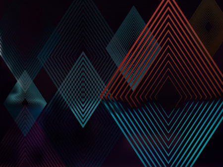 Vector Abstract Dark Background with Rhombuses. Geometric Fond with Blur Effect. Illustration of Futuristic Fond with Transparent Rhombuses. Tech Template. Tech backdrop. Concept for Graphic Design