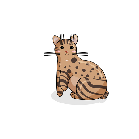 Vector Character of Pixie Bob Cat in Kawaii Style. Cute Cartoon Kitty Character. Funny Kitten isolated on White Background. Sticker of Kawaii Animal, Pet. Flat design. Usable for Childrens Book
