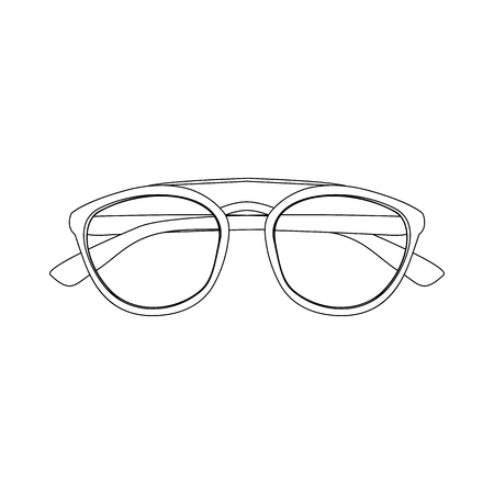Vector Contour Illustration of Sunglasses. Drawing of Eyeglasses in Line Art Style. Black Outline Drawing of Glasses isolated on White Background. Concept of Summer Object