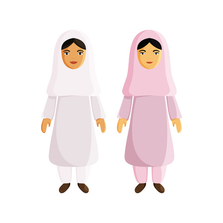 Vector Flat Illustraion of Muslim Women isolated on White Background. Two Women in Traditional Arabic Clothes. Arabic and Asian Girls are Muslim. Flat Characters for Holiday Ramadan