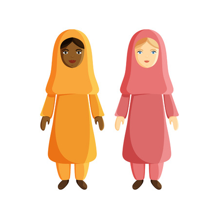 Vector Flat Illustraion of Muslim Women isolated on White Background. Two Women in Traditional Arabic Clothes. African and European Girls are Muslim. Flat Characters for Holiday Ramadan