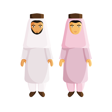 Vector Flat Illustraion of Muslim Men isolated on White Background. Two Men in Traditional Arabic Clothes. Arabic and Asian Guys are Muslim. Flat Characters for Holiday Ramadan Vektoros illusztráció