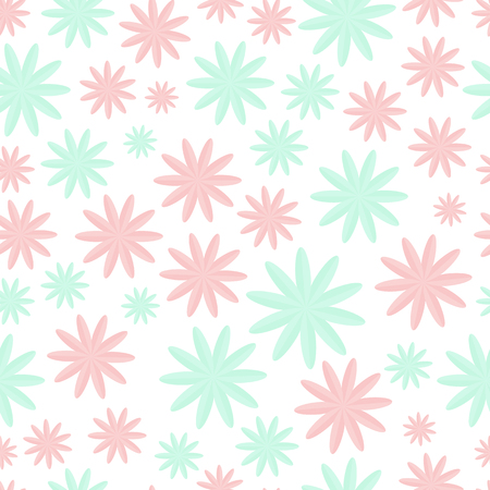 Vector Floral Pattern in Pastel Colors looks like Marshmallow. Cute Ditsy Print. Seamless Vector Texture. Elegant Template for Fashion Print. Creative Pattern in Doodle Style with Flowers and Leaves