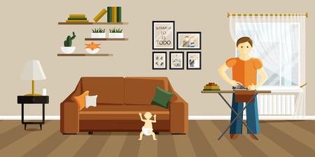 Vector Flat Illustration of Change of Gender Roles. Man on Maternity Leave. Father is Ironing Clothes and Baby Walks next to Sofa. Phrase in Spanish in Illustration means that family is everything