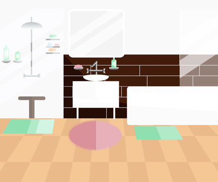 Vector Flat Illustration of Bathroom. Modern Bathroom Interior with Furniture. Home Interior Objects - Bath, Shower Cabin, Square Mirror, Wash Basin, Shampoo, Soap and so on Çizim