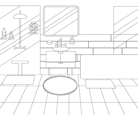Vector Line Illustration of Interior of Bathroom with Furniture. Whire and Black Outline Sketch of Home Related. Vector Design in Line Art Style. Design of Modern Interior of Bathroom