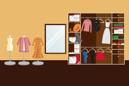 Vector Interior Design of Wardrobe Room Full of Women's Clothes. Vector illustration in Flat Style. Design Concept of Modern Interior of Walking Wardrobe Room