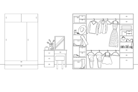 Vector Line Illustration of Interior of Wardrobe with Furniture. White and Black Outline Sketch of Home Related. Vector Design in Line Art Style. Design of Modern Interior of Walking Wardrobe