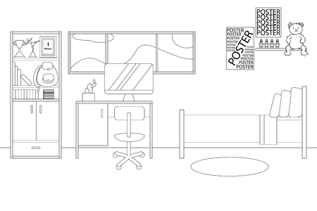 Vector Line Illustration of Interior of Single Bedroom for Girl. White and Black Outline Sketch of Home Related. Vector Design in Line Art Style. Design of Modern Interior of Child Bedroom