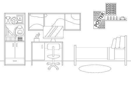 Vector Line Illustration of Interior of Single Bedroom for Boy. White and Black Outline Sketch of Home Related. Vector Design in Line Art Style. Design of Modern Interior of Child Bedroom