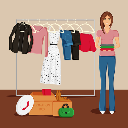 Vector Illustration of Clothes Donation. Girl is Keeping Clothes  and Carton Boxes Full of Clothes. Jacket, Skirt, Jeans and Dress on Hangers. Concept Design of Donate Clothes. Drawing for Charity Day