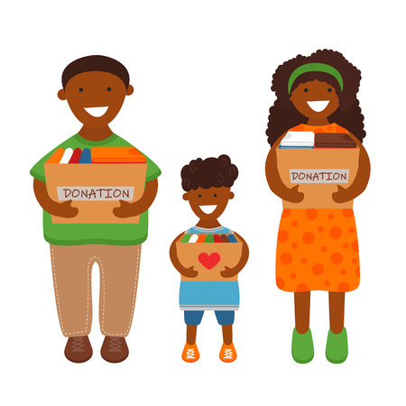 Vector Illustration of African Family of Volunteers are Holding Donation Boxes. Concept of Clothes Donation. Social Care and Charity Concept