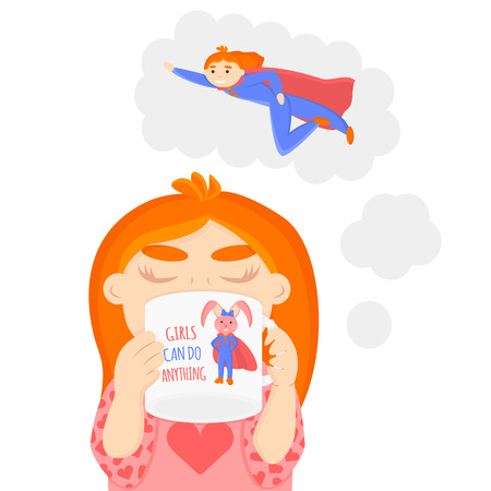 Vector Illustration of Little Girl is Dreaming about be Superhero. Girl is Drinking from Mug with Drawing of Little Rabbit is Superhero. Girls Can Do Anything