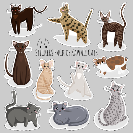 Vector Set of Funny Stickers of Cats in Kawaii Style. Cute Cartoon Kitty Character. Sticker of Kawaii Animal, Pet. Flat Design Concept for Print, Logo, Icon, Badge, Label, Patch