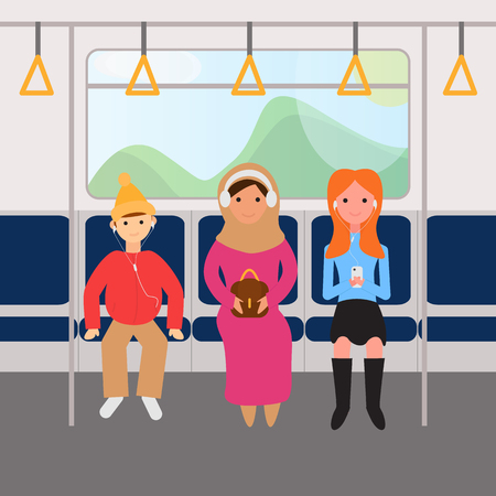 Vector Illustration of Online Training, Podcast Concept. People are in Metro Train Going to Work or Study, Listening Podcast. Pod Cast Concept. Education and Internet Technology