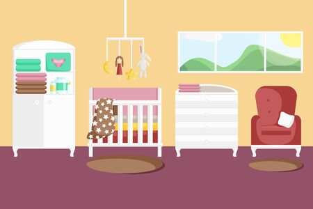 Vector Illustration of Baby Girl's Room with Furniture in Flat Style. Nursery Stylish Interior. Children's Bedroom with a Window, Cabinet, Handing Toys, Armchair, Rug and Baby Changing Table