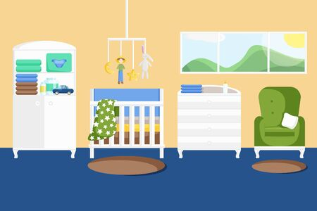 Vector Illustration of Baby Boys Room with Furniture in Flat Style. Nursery Stylish Interior. Childrens Bedroom with a Window, Cabinet, Handing Toys, Armchair, Rug and Baby Changing Table