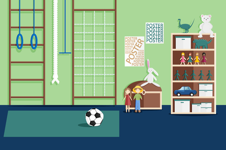 Vector Illustration of Interior of Childrens Game Room in Flat Style. Empty Kindergarten Room with Furniture, Sport Equipment and Toys for Children. Modern Interior of Kids Playroom for Fun Ilustracja