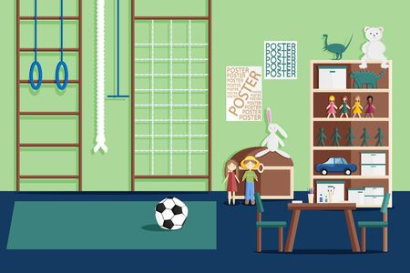 Vector Illustration of Interior of Childrens Game Room with Furniture and Toys in Flat Style. Kids Playroom in Kindergarten with Sport Equipment and Modern Interior