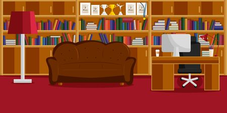 Vector Inretior Design of Home Office and Library in Flat Style. Vector Illustration of  Office Room with all Furniture: Desk, Chair, Computer, Library with Books, Sofa, Copybooks and Cup of Coffee
