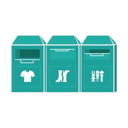 Vector Illustration of Clothing Bin or Clothes Donation Container. Flat Design of Recycling and Clothing Container. Charity Concept