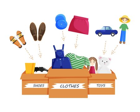 Vector Illustration of Clothes Donation in Flat Style. Concept for Charity Day. Illustration of Donation Boxes Full of Clothes, Shoes, Toys. Social Care and Charity Concept Vectores